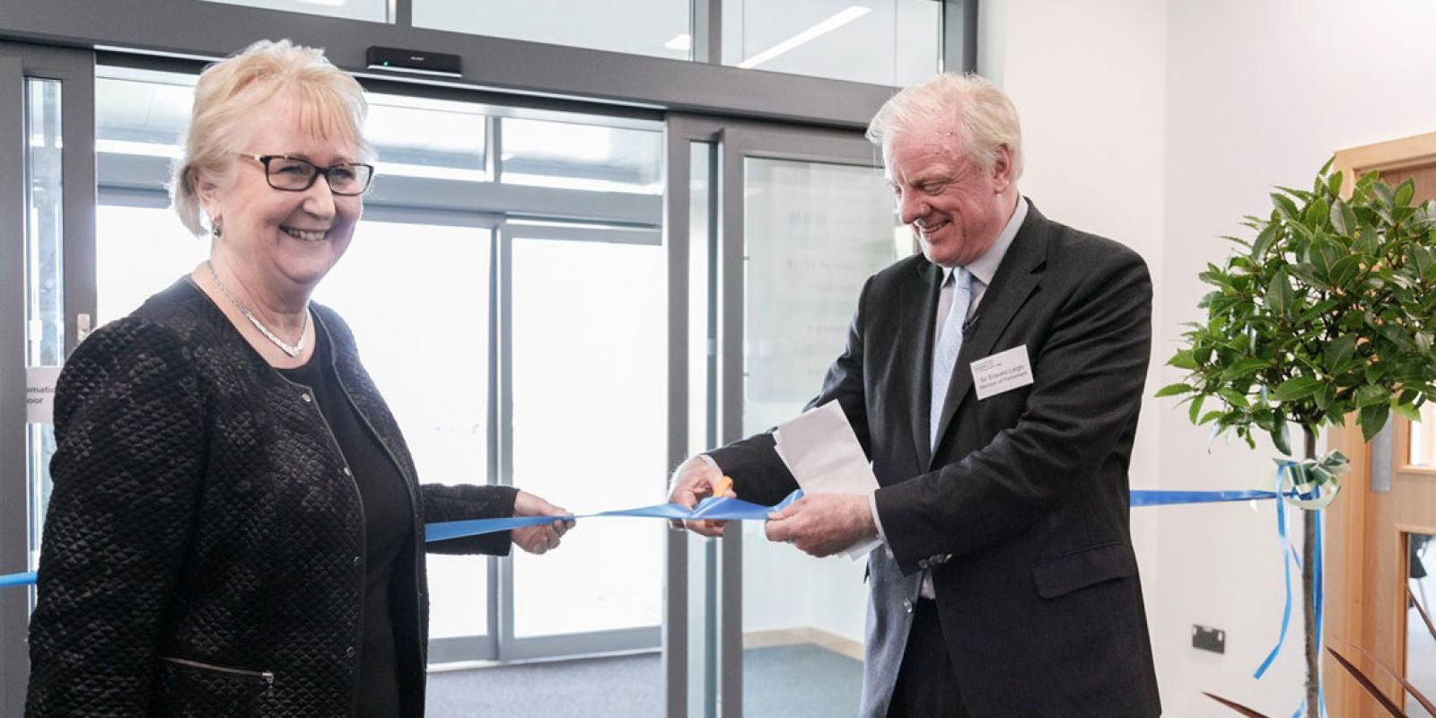 Jeanette Dawson, Principal of Bishop Burton College, with Sir Edward Leigh at the opening ceremony