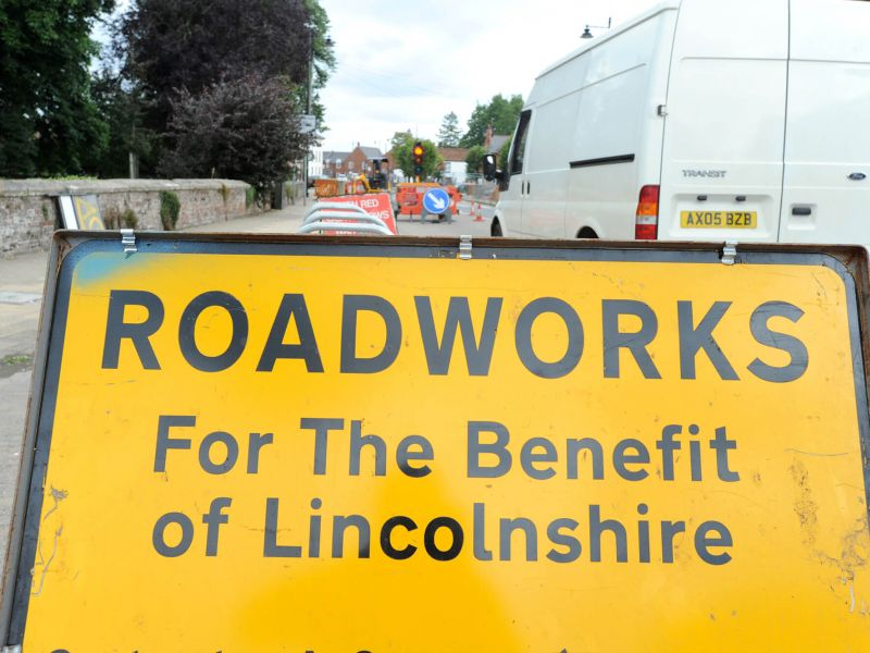 Lincolnshire roadworks sign